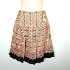 Tapemeasure 100% Silk A-Line Pleated Skirt